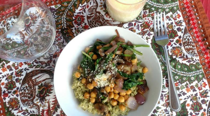 Pesto Quinoa Bowl with Chickpeas + Seasonal Vege