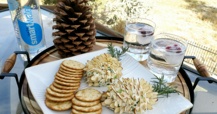 pinecone cheeseball with smartwater sparkling