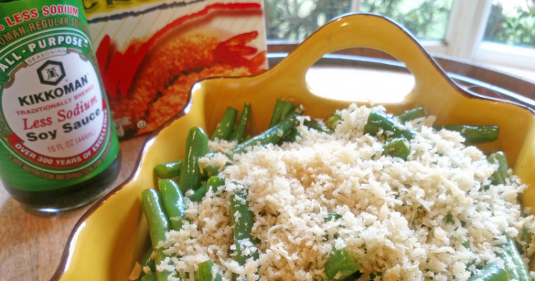 Roasted Garlic Green Beans with Parmesan Panko