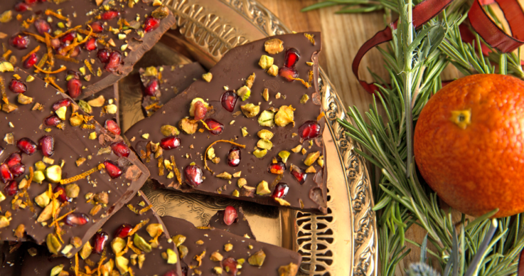 Holiday Chocolate Bark with Pomegranate and Orange Peel