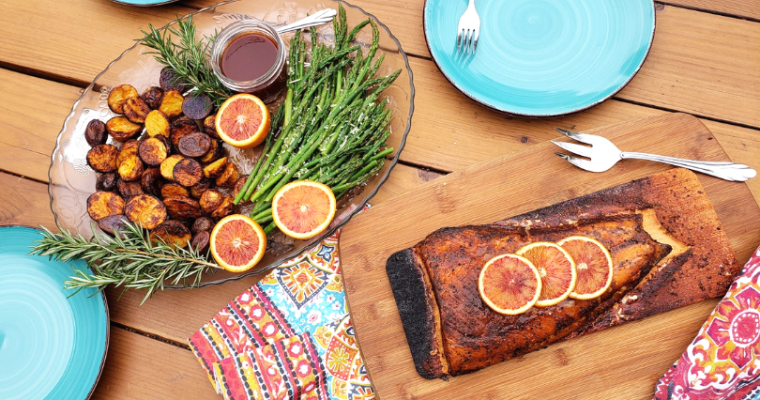 Cedar Bay Grilling Company Plank Salmon with Blood Orange BBQ Air Fryer Potatoes