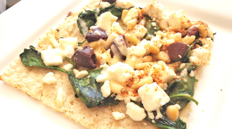 Cauliflower Crust Pizza with Spinach, Olive, Feta and Pine Nuts
