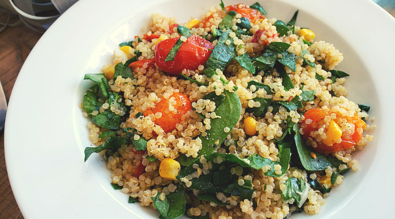 Roasted Tomato & Spinach Quinoa with Lemon Garlicky Dressing