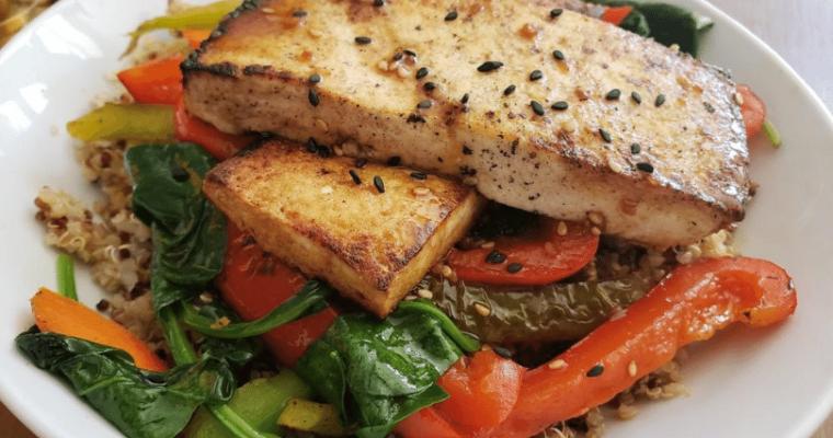 tofu slab quinoa bowl