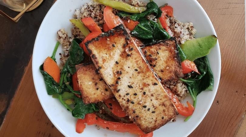 teriyaki quinoa tofu bowl