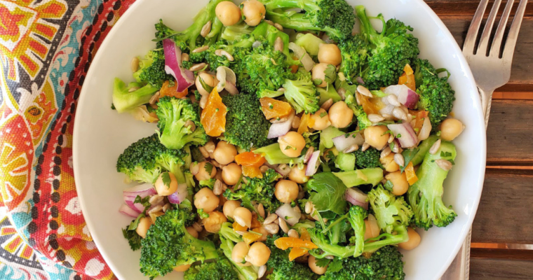 Sesame Ginger Broccoli Chick Pea Salad