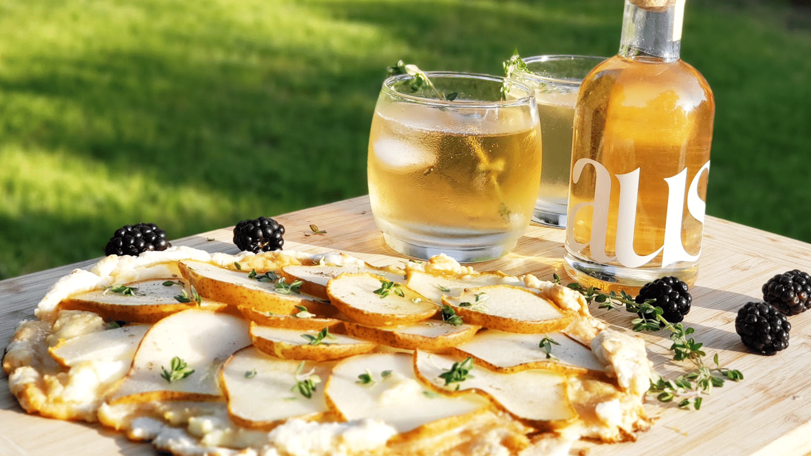 Honied Pear & Thyme Tart with Botanical Cocktails