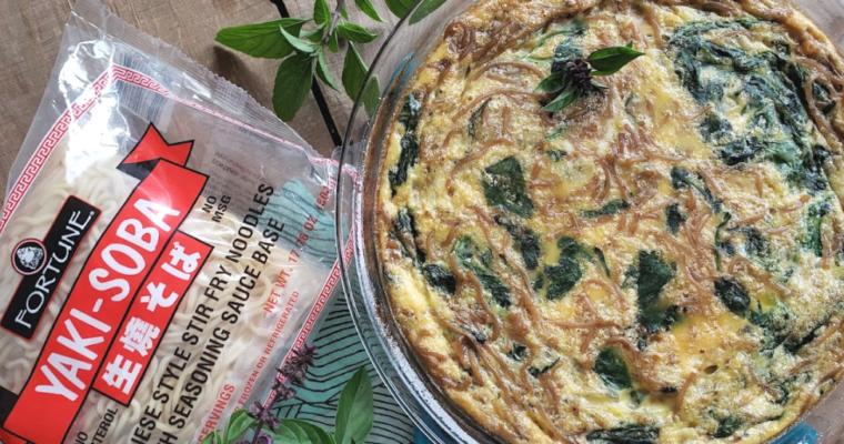Yakisoba Noodle Spinach Egg Bake Recipe